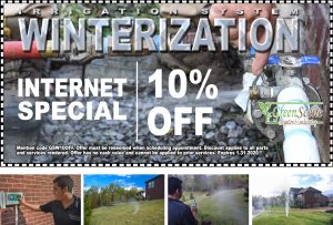 Save on Winterization for your home irrigation system from Williamson County's #1 company Green Scene!